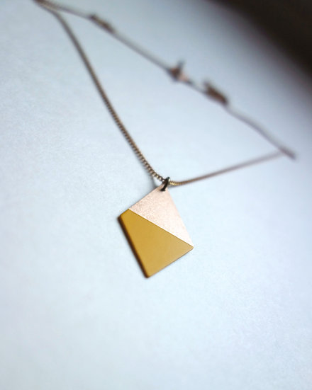 Geometrische Kette Trapez Curry Gelb, roségoldfarben