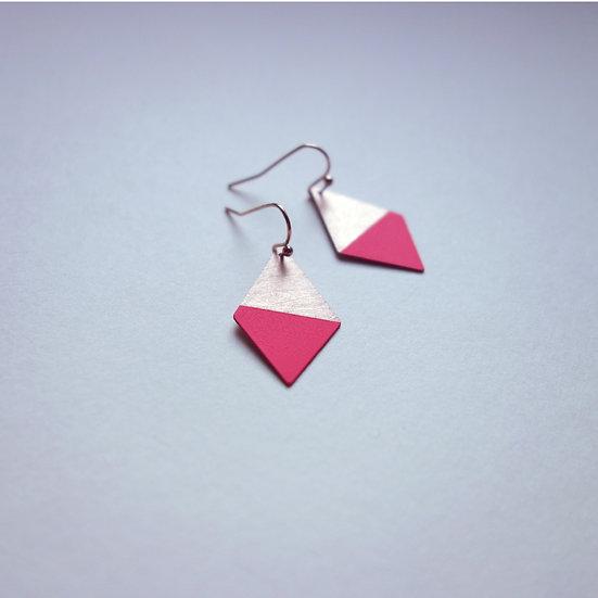 Geometrische Ohrringe Trapez Neon Pink, roségoldfarben