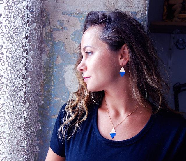 Geometrische Ohrringe Trapez Ultramarin Blau, roségoldfarben