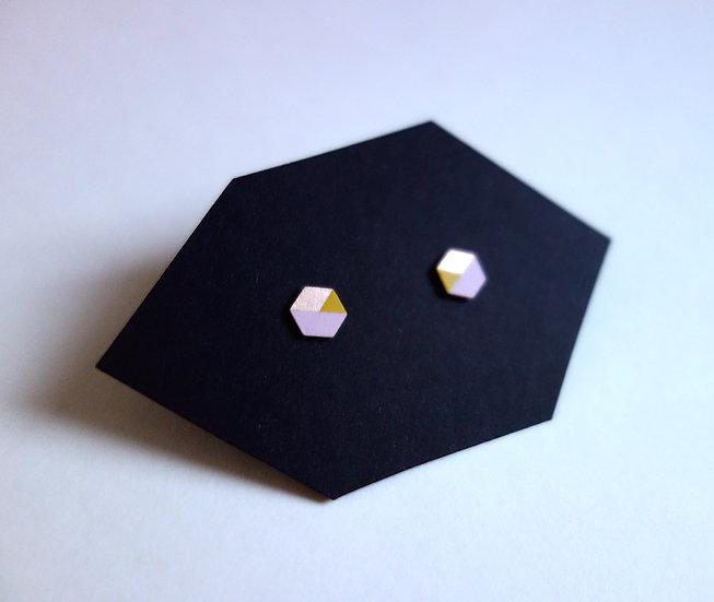 Geometrische Ohrstecker Hexagon Rosé - Curry Gelb