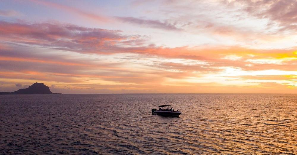 Sundowner on the west coast of Mauritius
