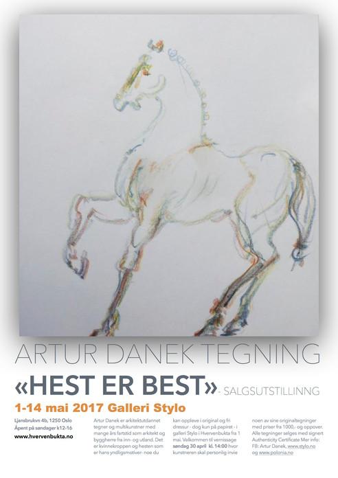 """Invitasjon til vernissage, tegneutstilling """"Hest er best"""" søndag 30 april kl. 14 i Galleri"""