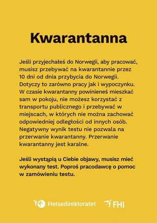Ogłoszenie dla Polaków przyjeżdżających do Norwegii.