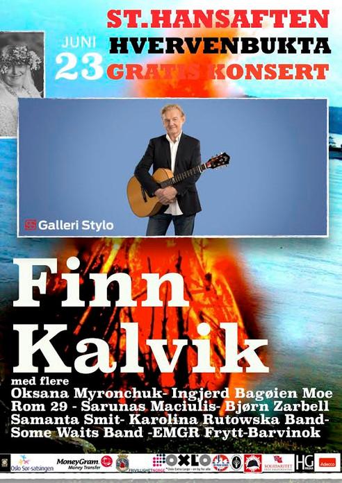 Finn Kalvik med fkere internasjionale artister i Hvervenbukta Sankthansaften 2016