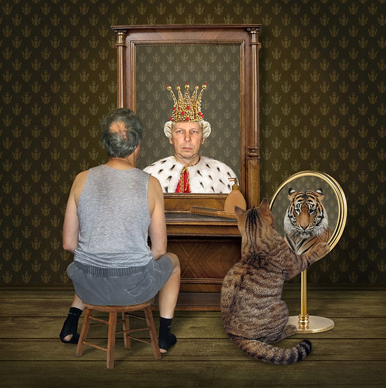 The balding man on a chair and his big c
