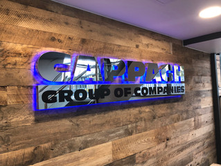 Branded corporate signage, glazing manifestation for Cappagh Group Head Office