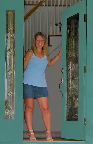 Woman answering door