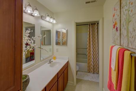 Lots of bathroom countertop space. Yes, please.