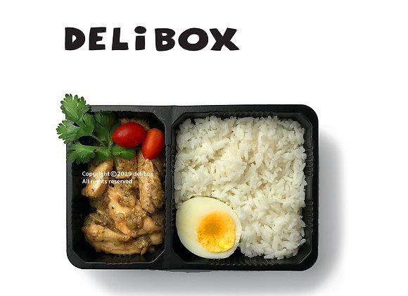 M09.ไก่ผัดกระเทียมพริกไทย ไข่ต้ม ข้าวหอมมะลิ