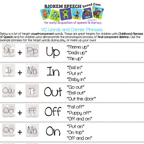 Vowel-Consonant Target Words & Phrases