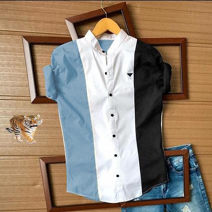 Sky Black Color Cotton Men's Shirt