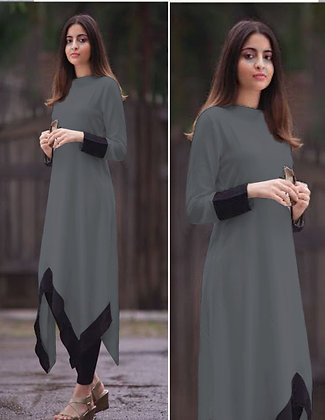 Latest Grey Color Rayon Designer Kurti For Women's and Girl's
