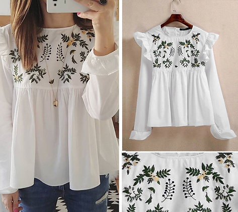 White Color Rayon Designer Embroidered Top For Girl'sv ans Women's