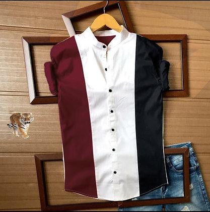 Maroon Black Color Cotton Men's Shirt