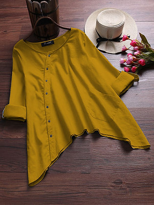 Yellow Color Cotton Top Type Shirt For Girl's and Women