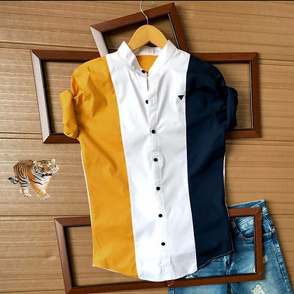 Designer Yellow Blue Color Cotton Men's Shirt