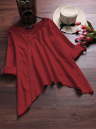 Red Color Cotton Top Type Shirt For Girl's and Women