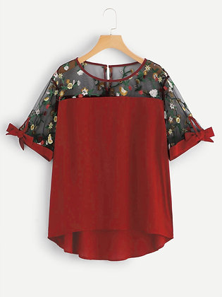 Red Color Rayon Designer Embroidered Top For Girl's and Women's