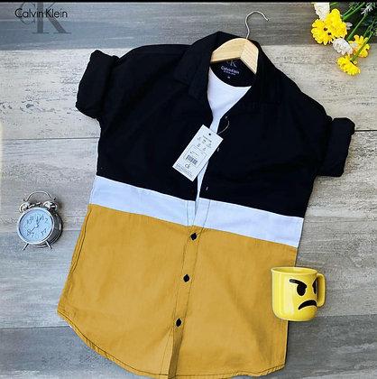 Designer Yellow Color Cotton Men's Shirt
