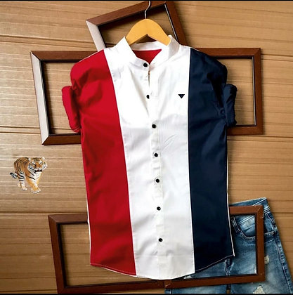 Red Blue Color Cotton Men's Shirt