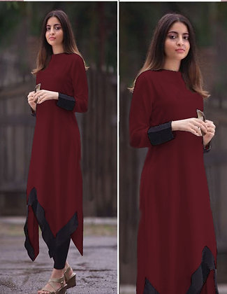 Latest Maroon Color Rayon Designer Kurti For Women's and Girl's