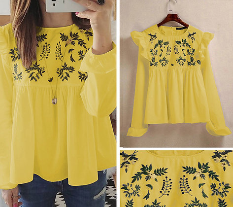 Yellow Color Rayon Designer Embroidered Top For Girl'sv ans Women's