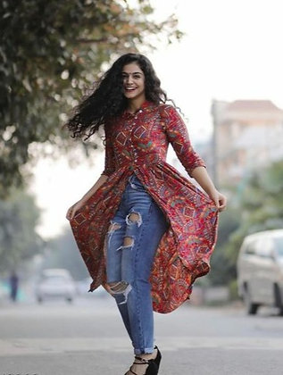 Fashionable and trendy printed Front open style Kurti for Women