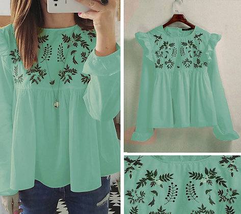 Sea Green Color Rayon Designer Embroidered Top For Girl'sv ans Women's