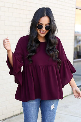 Wine Color Rayon Top For Girl's and Women