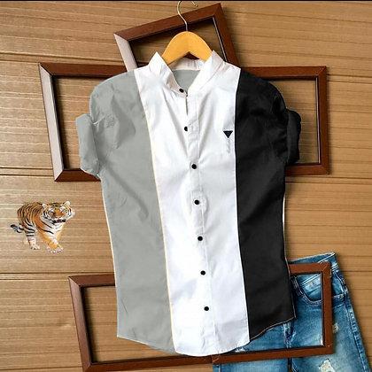 Grey Black Color Cotton Men's Shirt