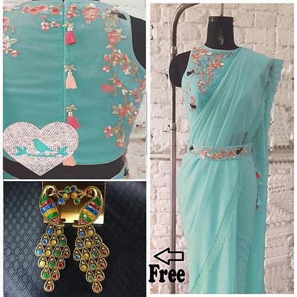 Designer Sky Color Embroidered Work Georgette Saree