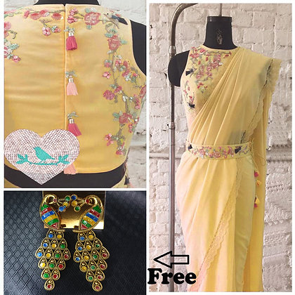 Designer Yellow Color Embroidered Work Georgette Saree