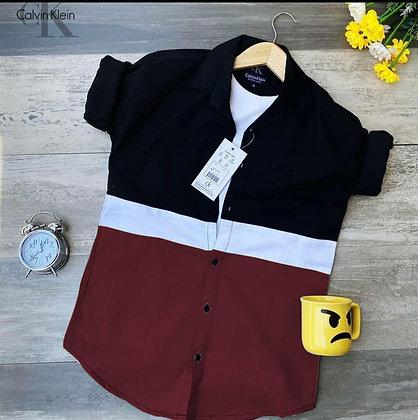 Designer Maroon Color Cotton Men's Shirt