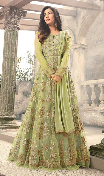 Designer Pista Color Mono Net Anarkali Salwar Suit