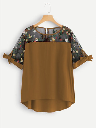 Musturd Color Rayon Designer Embroidered Top For Girl's and Women's