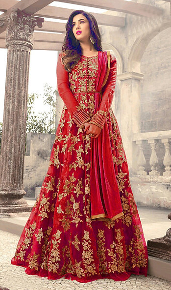 Designer Red Color Mono Net Anarkali Salwar Suit