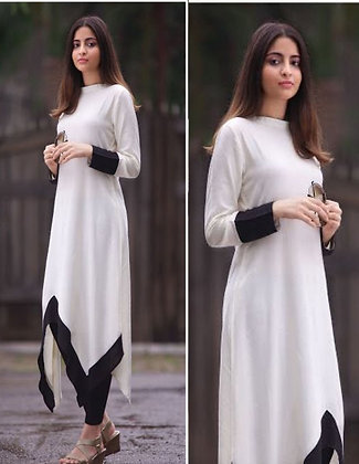 Latest White Color Rayon Designer Kurti For Women's and Girl's