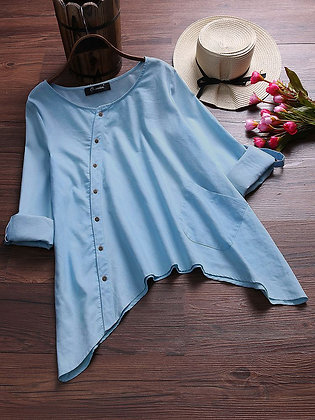 Sky Blue Color Cotton Top Type Shirt For Girl's and Women