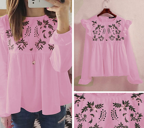 Pink Color Rayon Designer Embroidered Top For Girl'sv ans Women's