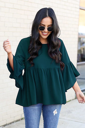 Rama Green Color Rayon Top For Girl's and Women