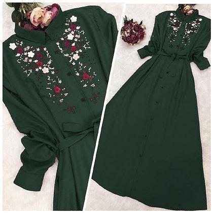 Designer Green Color Rayon Embroidered Kurti