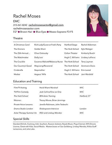 Rachel Moses Actor Resume 2020 w:camera