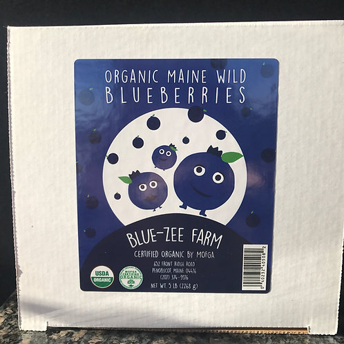 5 lbs Frozen Certified Organic Maine Wild Blueberries