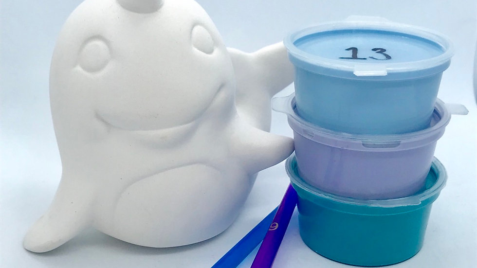 Cute Narwhale Pottery Painting Kit