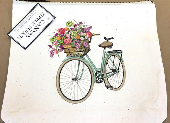Canvas Zipper Pouch - Bicycle
