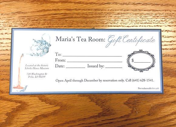 Maria's Tea Room Gift Certificate