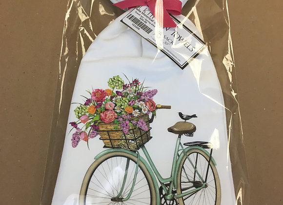 Flour Sack Kitchen Towels - Bicycle