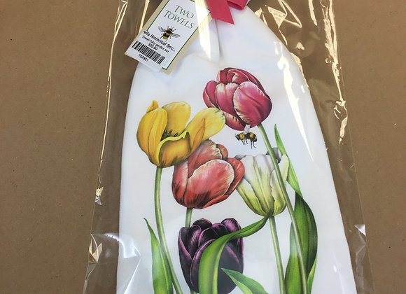 Flour Sack Kitchen Towels - Mixed Tulips