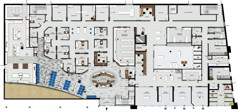 Plan d'aménagement rez-de-chaussée