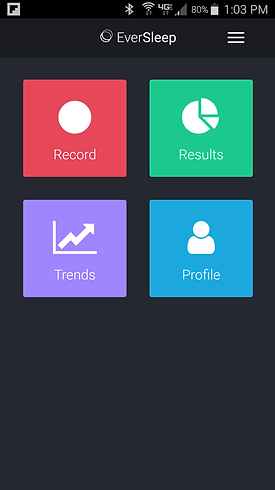 EverSleep App Home Page, Record Sleep, Sleep Data Results, Sleep Trends, Sleep Profie, Sleep App